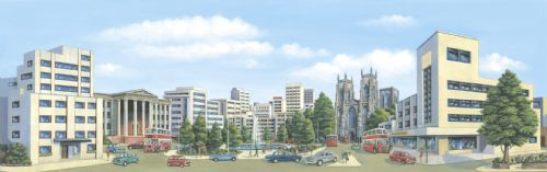 SK-37 / SK-17 Peco: 'MANYWAYS' SCENIC BACKGROUNDS City Centre